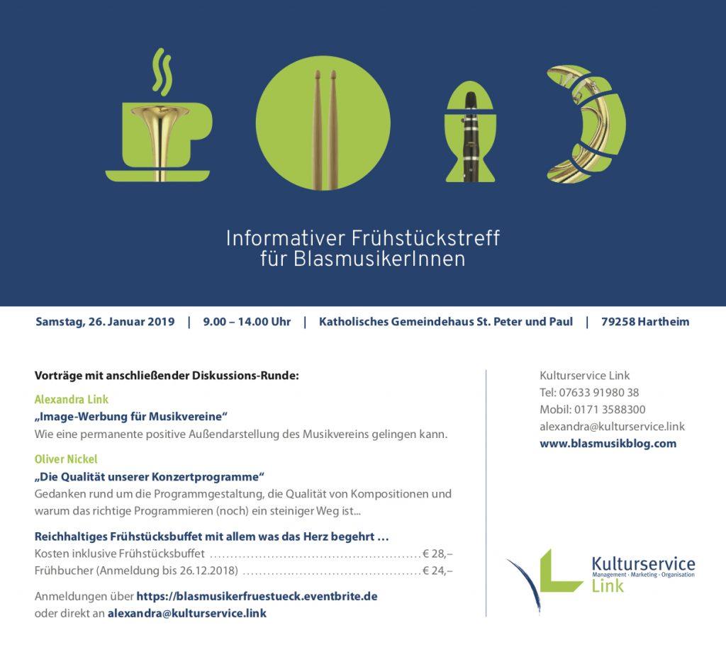 Einladung Informativer Frühstückstreff für BlasmusikerInnen